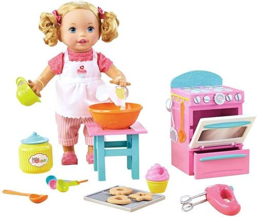 Muñeca Little Mommy Preparando Galletas Cocinita +accesorios