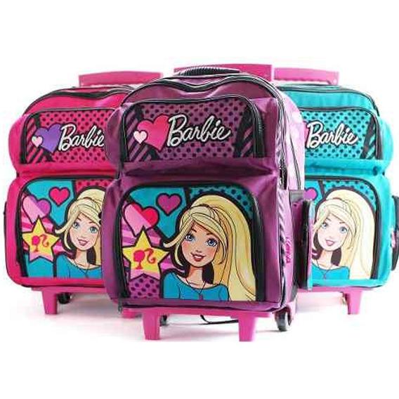 Mochila Barbie Con Carro 20 Pulgadas Escolar Nena