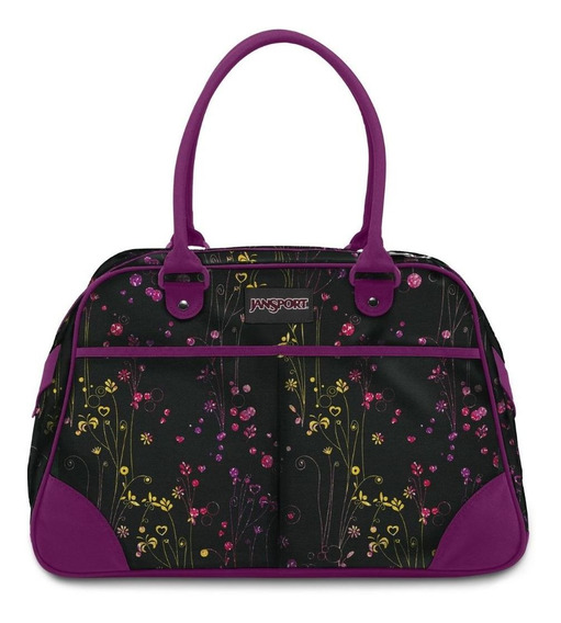 Cartera jansport small duffel negra Con Flores
