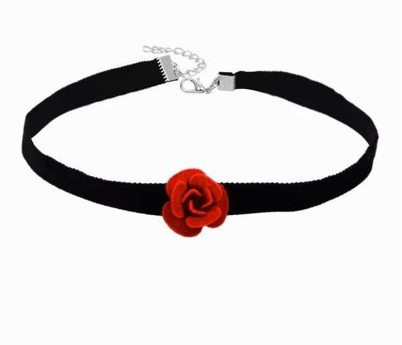 1 Unid Gargantilha De Veludo Preto E Flor Vermelha Chocker