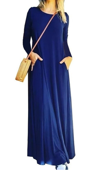 Vestidos Largos Manga Larga Amplios Con Bolsillos Por Talles