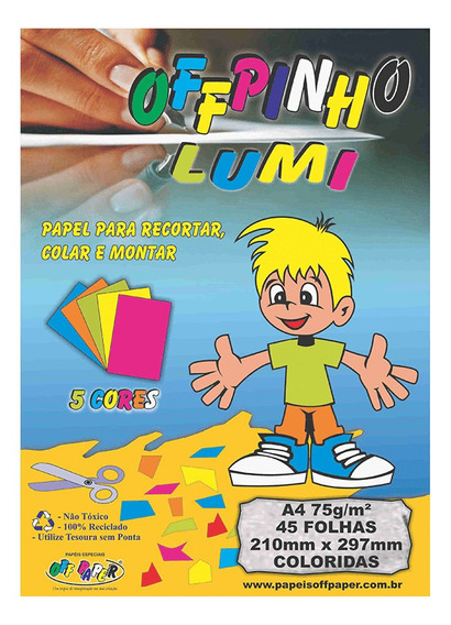 Papel Offpinho Lumi 75gr 5 Cores Pacote Com 45fls