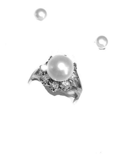 Anillo Súper Perla Botón Cultivada Color Blanca Talla 9