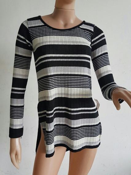 Sweater / Remerón Lanilla Mujer Largo Rayado Con Tajos