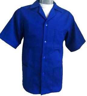 Batas Industrial Azul Rey 65%pol. 35%alg. Manga Corta
