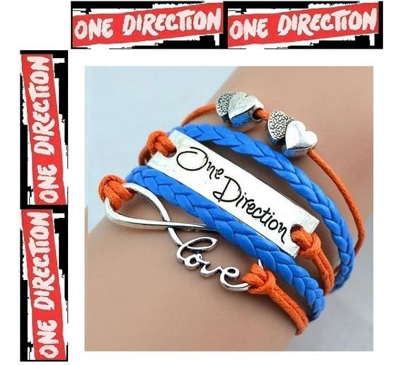 Pulseira One Direction Azul Laranja Infinito Love Em Couro