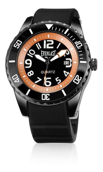 Relógio Everlast Masculino Aço E Pulseira Em Silicone Grande