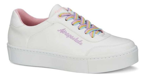 Sneaker Dama Aeropostale Blanco 2669106 Logotipo Bordado Agujetas Arcoiris
