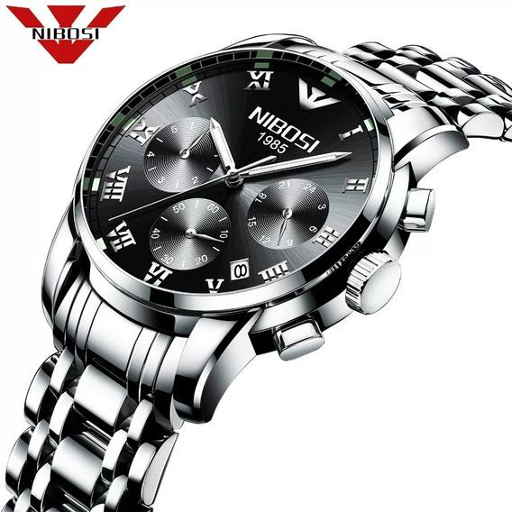 Relógio Masculino Nibosi Cronógrafo Ni2301 Black Completo