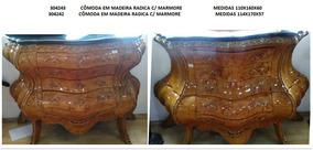 Cômoda Bombê Marchetada Em Madeira Radica C/ Bronze Marmore