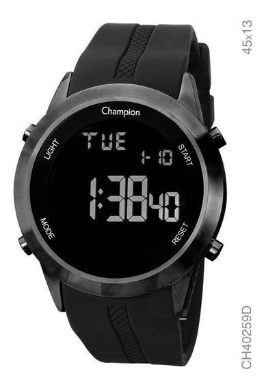 Relógio Digital Champion Preto Silicone Negativo Ch40259d
