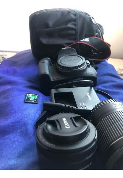 Canon Eos 750d / T6i + Lente 50mm + 18-55mm + Bolsa/cartão
