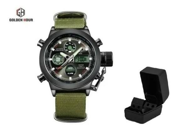 Relógio Militar Golden Hour - Pronta Entrega