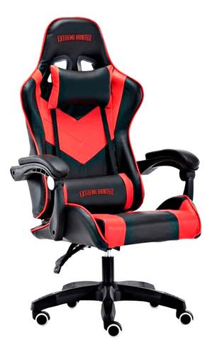 Silla de escritorio Ideon Extreme Hunter Pro gamer ergonómica  negra y roja con tapizado de cuero sintético