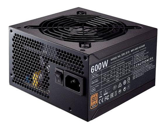 Fonte 600w 80 Plus Bronze Cooler Master Mpx-6001-acaab-wo