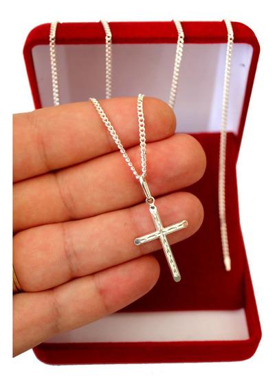 Corrente De Prata Masculina 925 70cm Fina Maciça + Crucifixo
