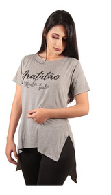 Camiseta Long Feminina Estampada Alongada Roupa Tumblr