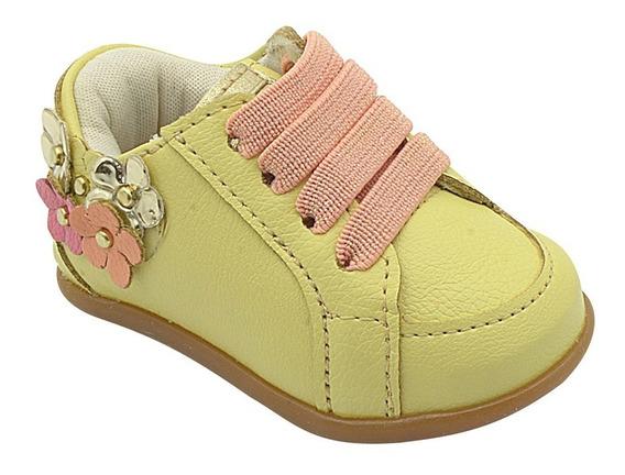 Sapato Infantil Feminino Menina Amarelo Com Flores Pé Com Pé