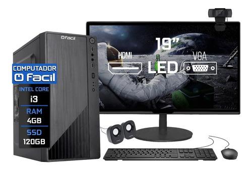 Imagem 1 de 6 de Pc Completo Facil Intel I3 4gb Ssd 120gb Webcam Caixa De Som