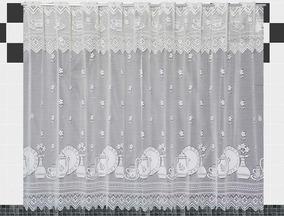 Cortina De Renda Cozinha Pratos Branca 2,20m X 1,20m