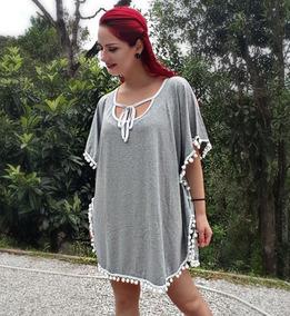 Vestido Saída De Praia Poncho Branco Pom Pom Moda Réveillon