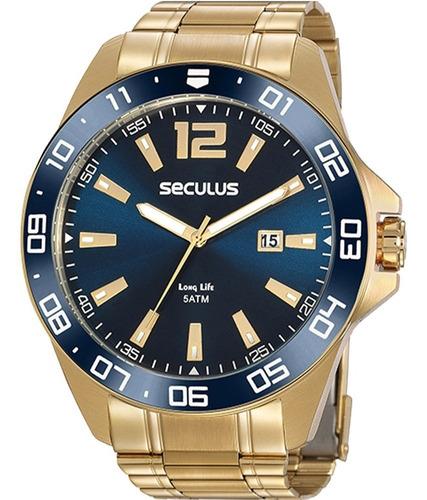 Relógio Masculino Seculus Dourado Long Life 20809gpsvda2