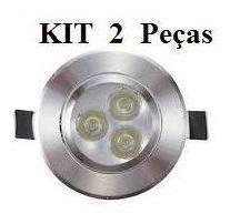 Kit 2 Spot 3w Inclinável Prata Quente Redondo Cozinha K2111