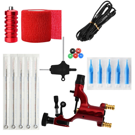 Tattoo Kit Rotary Machine S Tubes Clip Cord Bandage Grommets