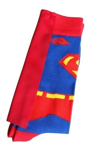 Meia Divertida Algodão Cano Alto Adulto Dc Comics Superman