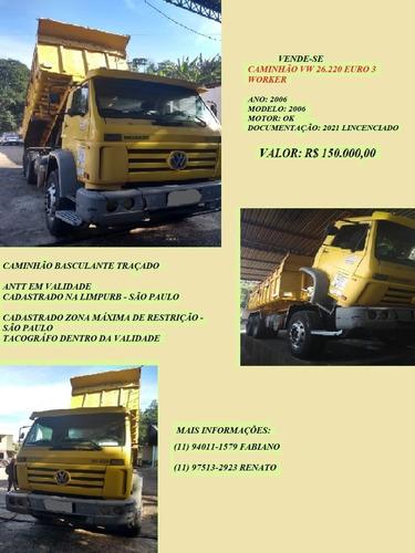 Caminhão Basculante Trucado Traçado Vw 26.220 Euro3 Worker