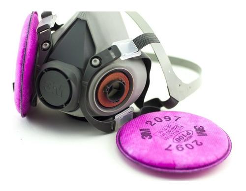 Respirador Medía Cara 6100 3m Con Filtros P100 2097