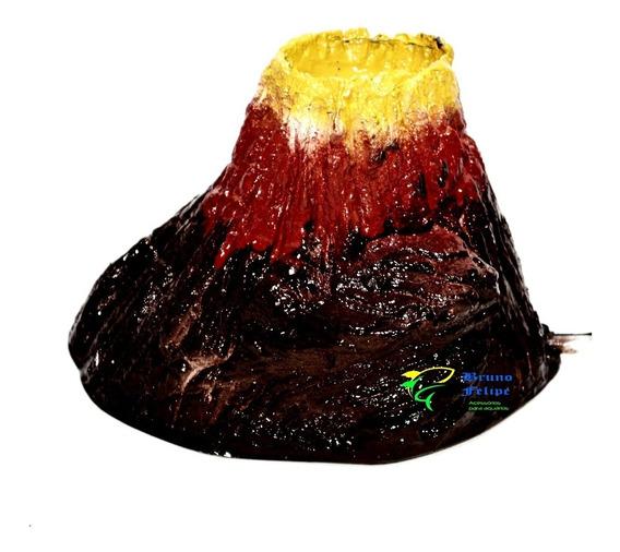Enfeite Ornamento Para Aquários Vulcão Com Led Bolhas Bivolt