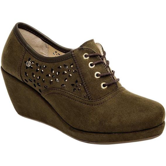 Zapato Casual Dama Etnia 347 Olivo Tacon 7cm 22-26 81155 T3