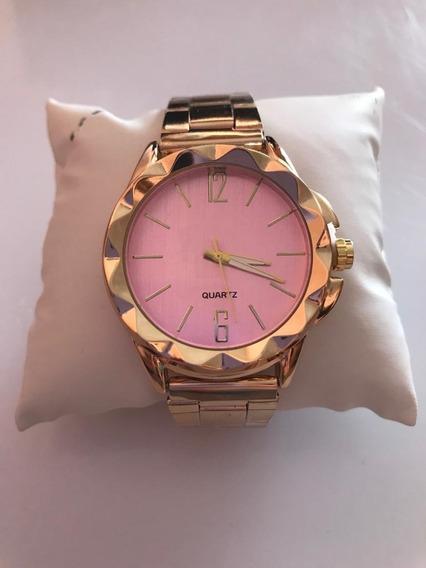 Relógio Feminino Dourado C/ Rosa Quartz