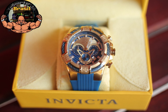 Invicta Bolt Chronograph Gold And Bluedial,2468,original Eua