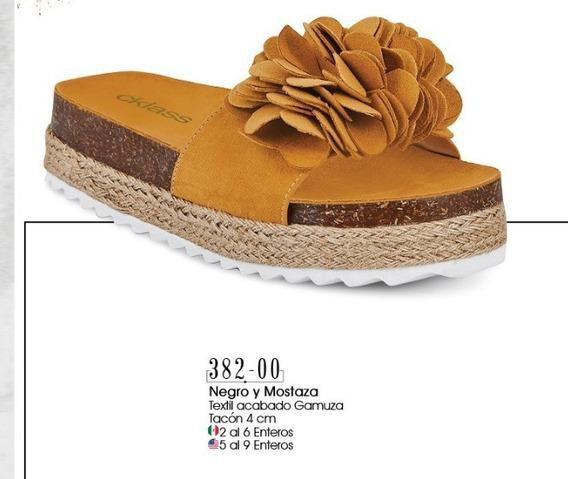 Sandalias De Tacon Color Mostaza 382-00 Cklass Dama 2-19 D
