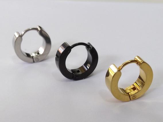 Brinco Argola 14 Mm Masculino Prata,preto E Dourado ( Cada )