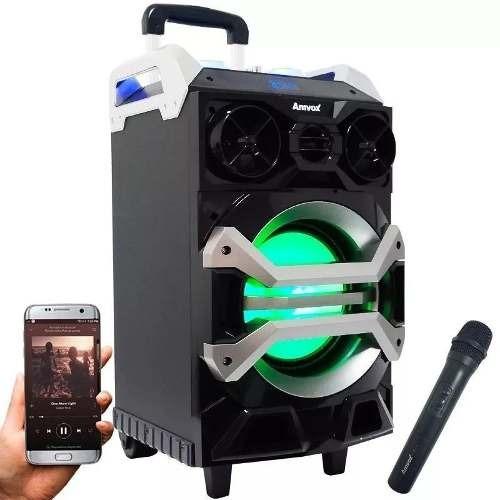 Caixa Som Amplificada Bluetooth 200w Portátil Led Microfone