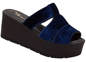 Sandalia Anabela Feminina Alta Veludo Marinho Jeans Escuro