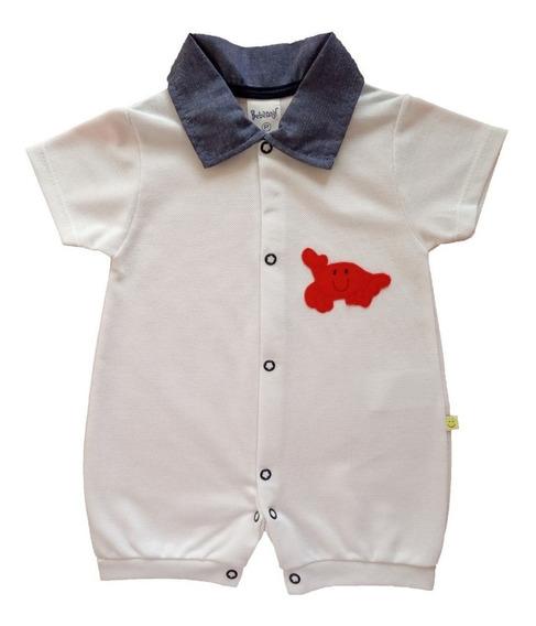 Macacão Curto Bebê Menino Piquet Com Gola Jeans Verão 2020