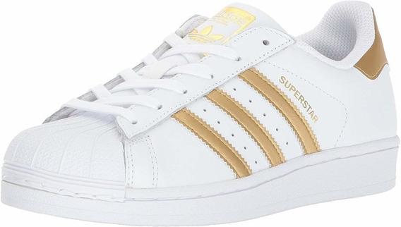 Tenis adidas Superstar Branco E Dourado