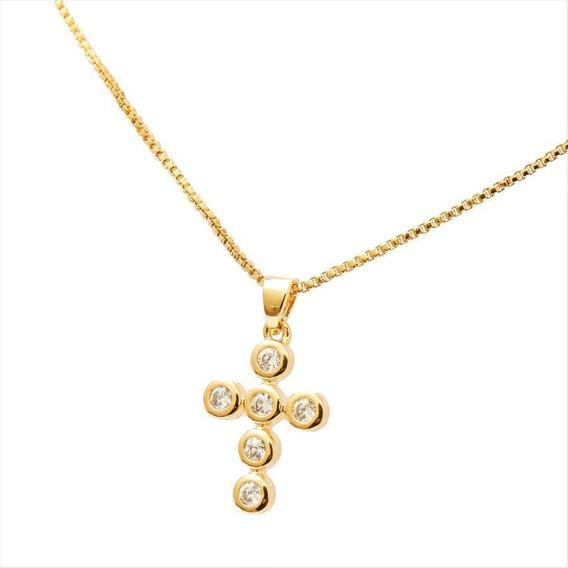 Corrente Veneziana 45cm Feminina Cruz Zircônia Folheado Ouro