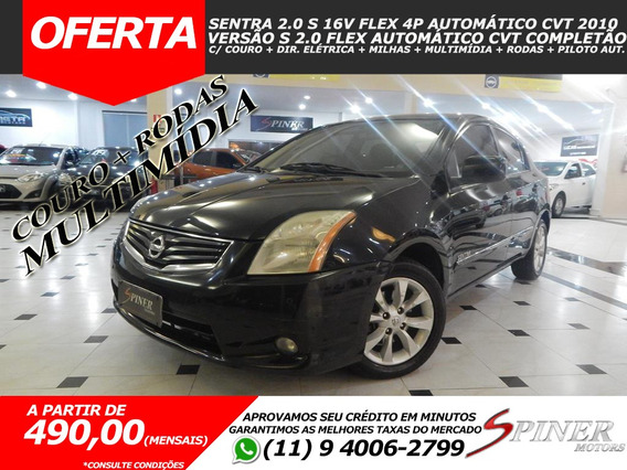 Nissan Sentra 2.0 S Flex Aut Cvt Completo Couro + Multimídia