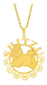 Gargantilha Horus Import Shitzu Banhada Ouro Amarelo 18 K 10