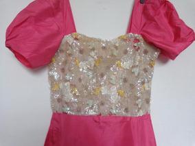 Vestido Festa Alta Costura Tafetá Bordado Paetês