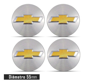 Jogo 4 Emblema Logo Adesivo Roda Chevrolet 3d Prata 55mm