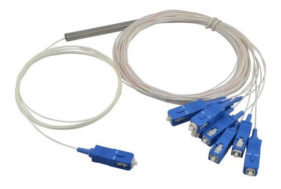 10 Pcs Splitter 1x8 Balanceado 0.9mm 1,5m Sc Upc Azul