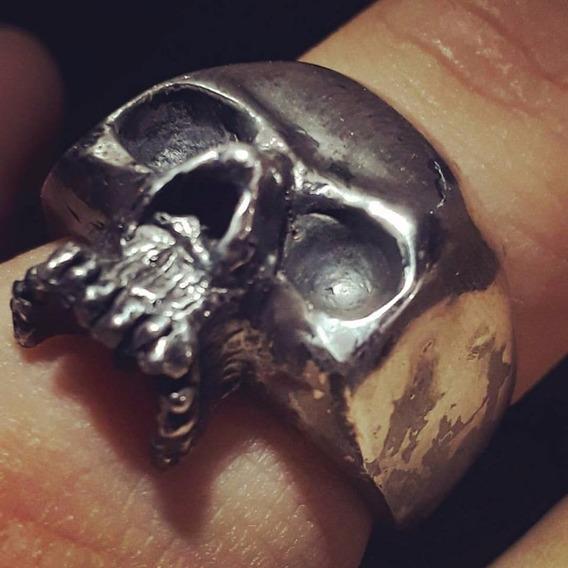 Joia Anel De Caveira Skull Presente Natal Prata 950