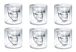 6 Vasos Shot Calavera Doble Vidrio