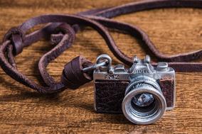 Colar Masculino Couro Camera Fotografica Photo Frete Gratis